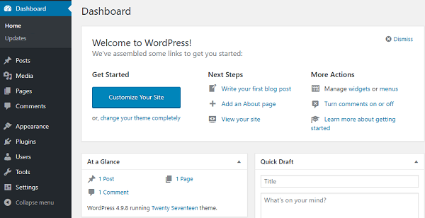 Admin WordPress Dashboard