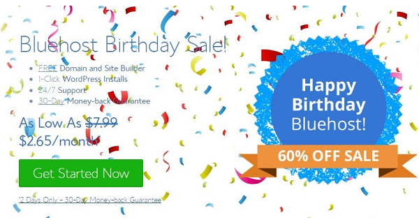 Bluehost Birthday Sale - Huge Discount