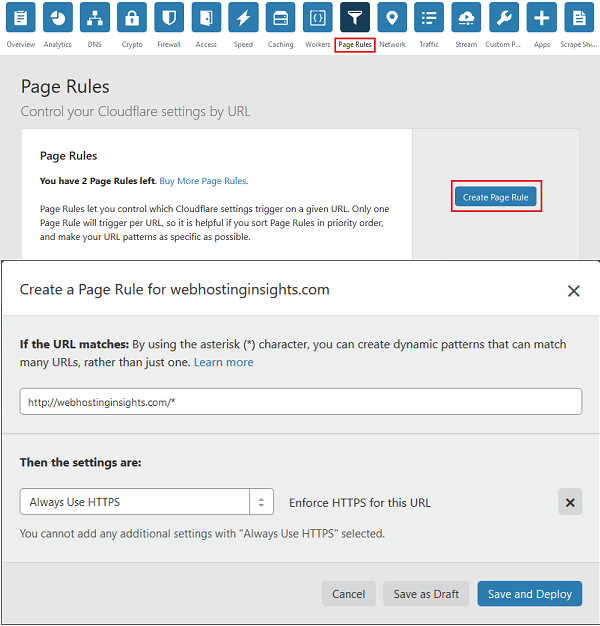 Create a Page Rule for Your Website