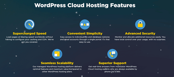 HostGator WordPress Cloud Hosting Features