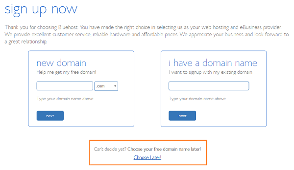Register a Domain Name on BlueHost