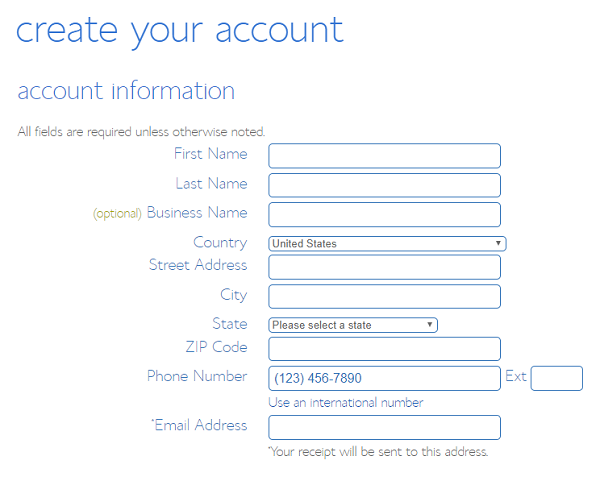 Register your account with BlueHost