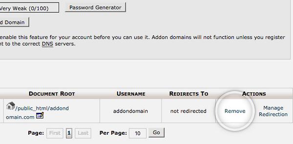 SiteGround Remove Addon Domain