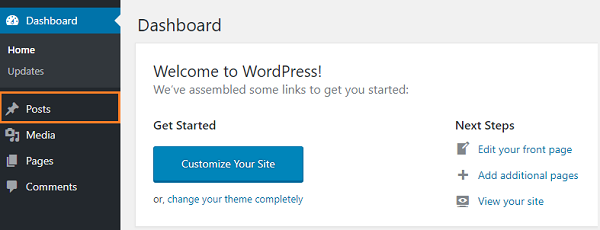 WordPress Website Dashboard