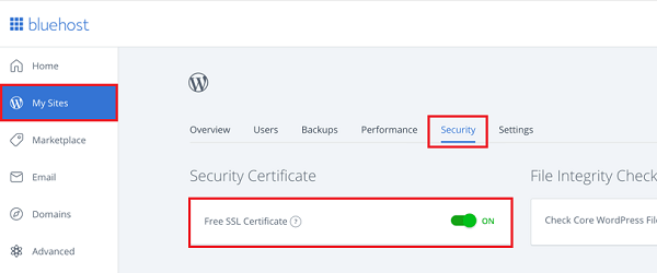 Free SSL Certificate on Bluehost
