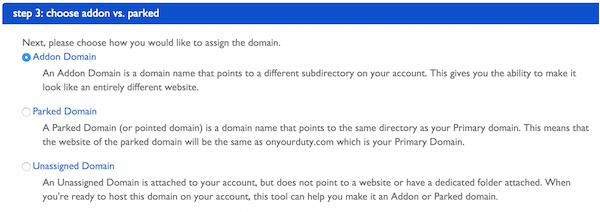 Choose Addon Vs Parked BlueHost Domain