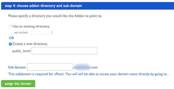 Choose addon directory and sub-domain